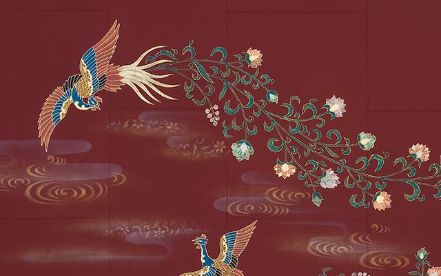海老茶色正絹羽二重七条袈裟 座具付