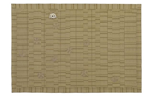 白茶色金糸横縞紗 九条袈裟 座具付