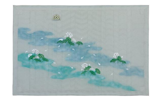 水色正絹波羅織 九条袈裟 座具付
