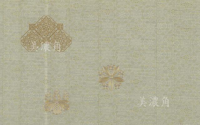 青磁色絣染蜀甲地紋薄金紗九条袈裟 座具付