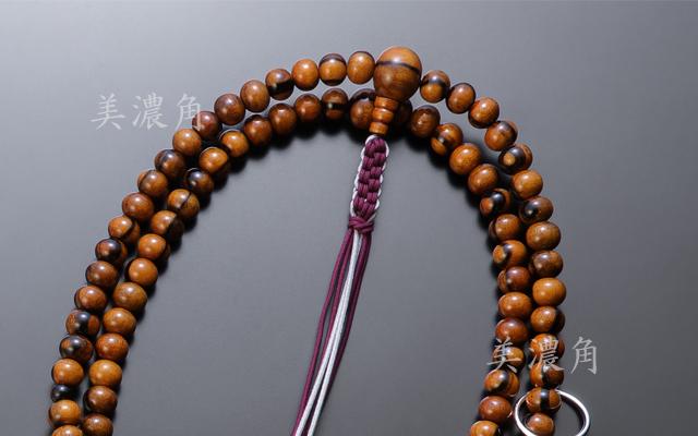 黒柿(上木)尺六念珠 本銀輪付 正絹紐